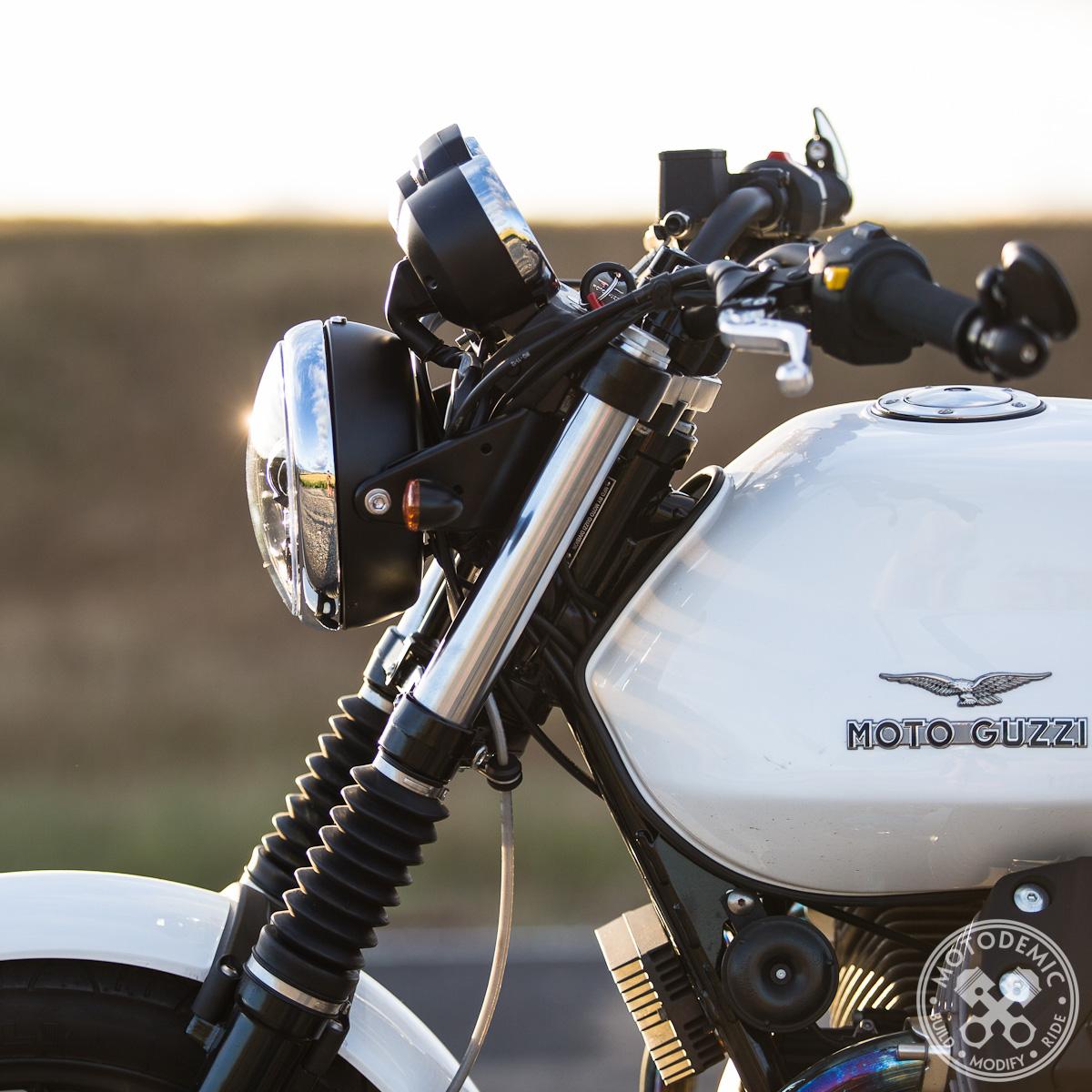 moto guzzi led headlight upgrade motodemic. Black Bedroom Furniture Sets. Home Design Ideas